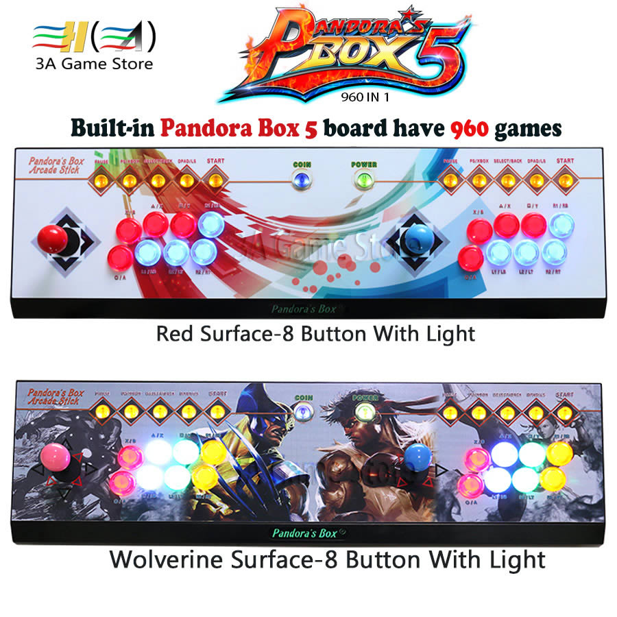 2 players Pandora's box 5 960 in 1 Console Red/Circle/Wolverine Surface 8 Button controle arcade joystick usb arcade controller pandora box 4s 2 player arcade console for home 815 in 1 family game consoler with 5 pin 8 way joystick lock button hdmi vga out