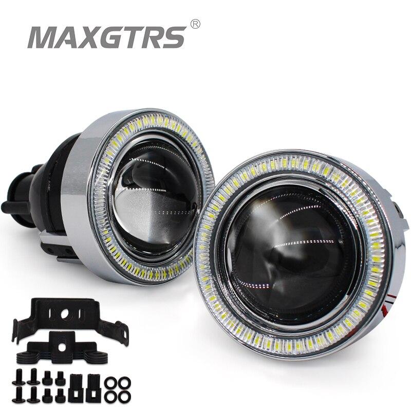 2x Универсальный HID Bi-xenon Противотуманные фары Лампа проектор Объектив вождения светодио дный лампы светодиодные Ангел глаз для Ford Toyota CRV Subaru ...