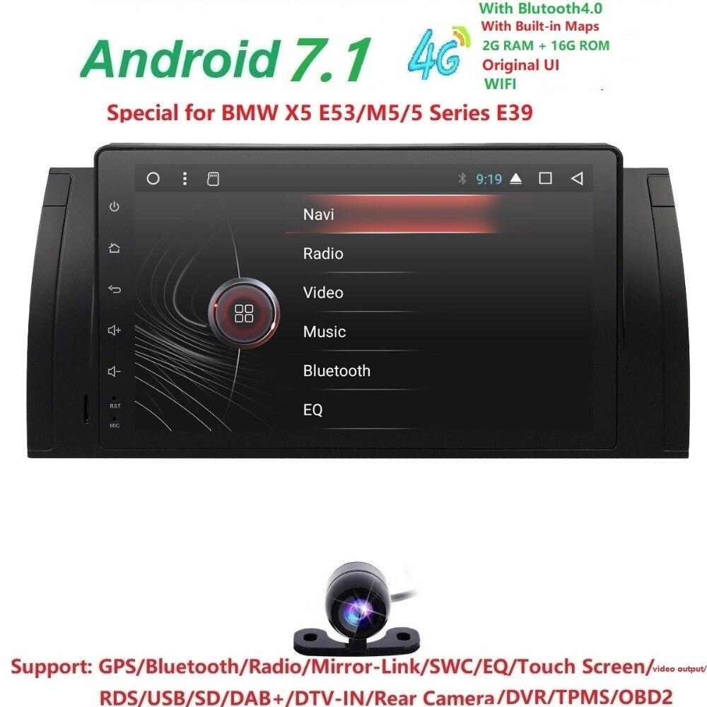 9 Android7.1 Voiture PAS DVD Radio multimédia pour BMW E39 X5 M5 E53 avec 4 3gwifi BT GPS QuadCore 2 gramme + 16g ROM DVR RDS CFC CAM CARTE DAB