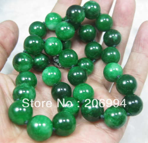 Whole Factory Price Nature Green Stone Jadeite 12mm Beads Necklace 18inch Fashion Jewelry