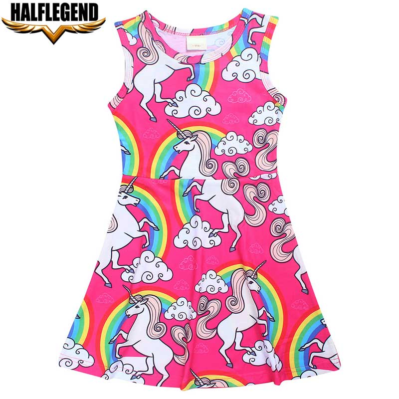 2018 Summer Brand Baby Girl Dress Sleeveless Unicorn Dresses Cotton Kids Princess Cartoon Dresses for Girls Children Clothing clearance baby dresses princess girls dress 2 5years cotton clothing dress summer clothes for girl
