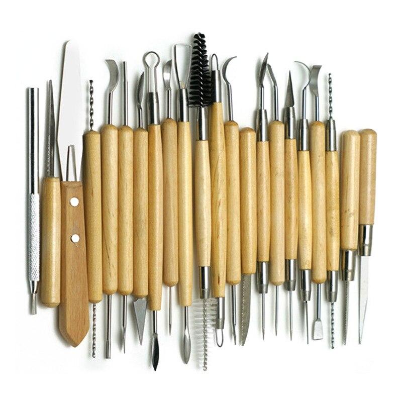 30 pièces/ensemble argile Sculpture outils poterie à la main multi-outils céramique poignée en plastique Sculpture sur bois outils à main Kit - 2