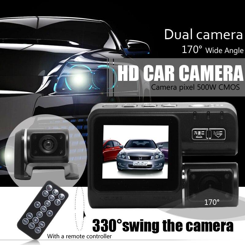 Dual Lens Car Camera i1000 Car DVR Dual Camera HD 1080P Dash Cam Black Box With Rear 2 Cam Vehicle View Car Recorder
