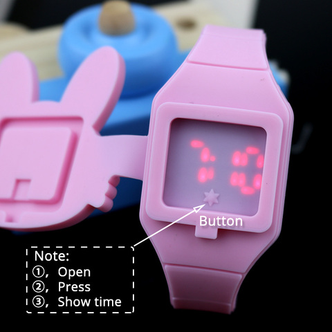 Lovely Rabbit Cartoon Children Watches Flip Cover Rubber Electronic Kids Watch for Boy Student Girls Clock Reloj Infantil Saati Karachi