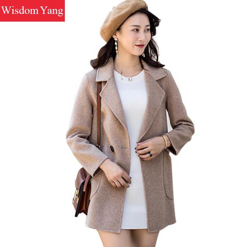 Элегантные женские кашемир Шерстяные пиджаки серый хаки зимняя женская обувь теплые женские одной кнопки шерстяные женские пальто осеннее