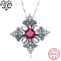 J.C Charm Ruby Spinel & Blue Topaz Princess Cut 925 Sterling Silver Necklace Fine Jewelry for Women/Girlfriend Wedding Pendant