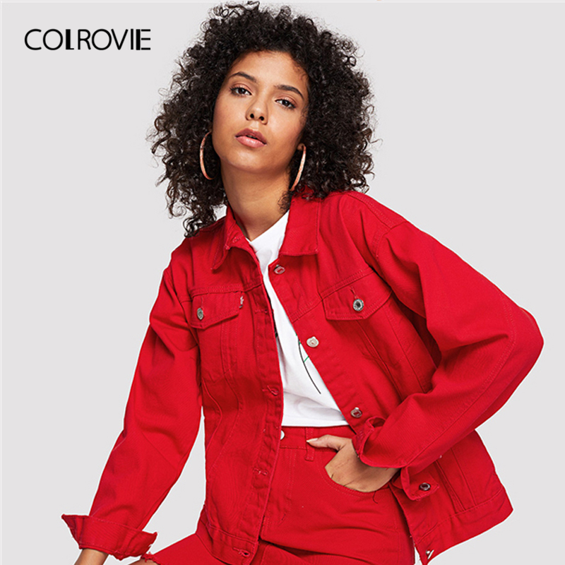COLROVIE Red Casual Button Denim Jacket Without Skirt 2018 Autumn Women Basic Jacket Long Sleeve Streetwear Girls Jacket Coat
