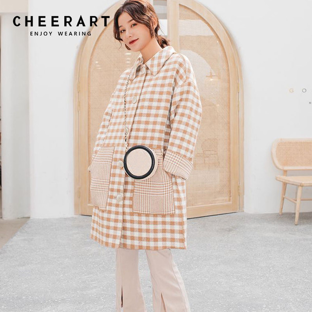 b1a0b0b9567 Cheerart Long Plaid Wool Coat Women Plus Size Winter Faux Cashmere Coat  Buffalo Plaid Cape Femme