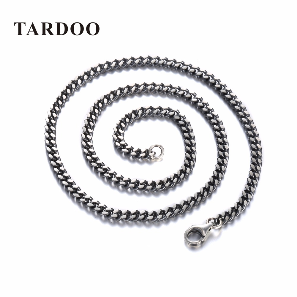 TARDOO Punk Style Classic Silver Chain Necklace for Women & Men 925 Sterling Silver Choker Necklace Fine Jewelry Around His Neck punk style silver plated etched star circle pendnat necklace for men