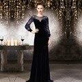 Dubai Velvet Formal Evening Dress Long  robe de soiree Custom Made Scoop Beaded Long Sleeves Mother of the Bride Dresses