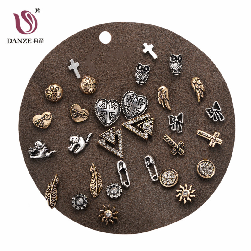 DANZE 12 Pairs / lot Vintage Crystal Stud Earrings Set para mujeres - Bisutería