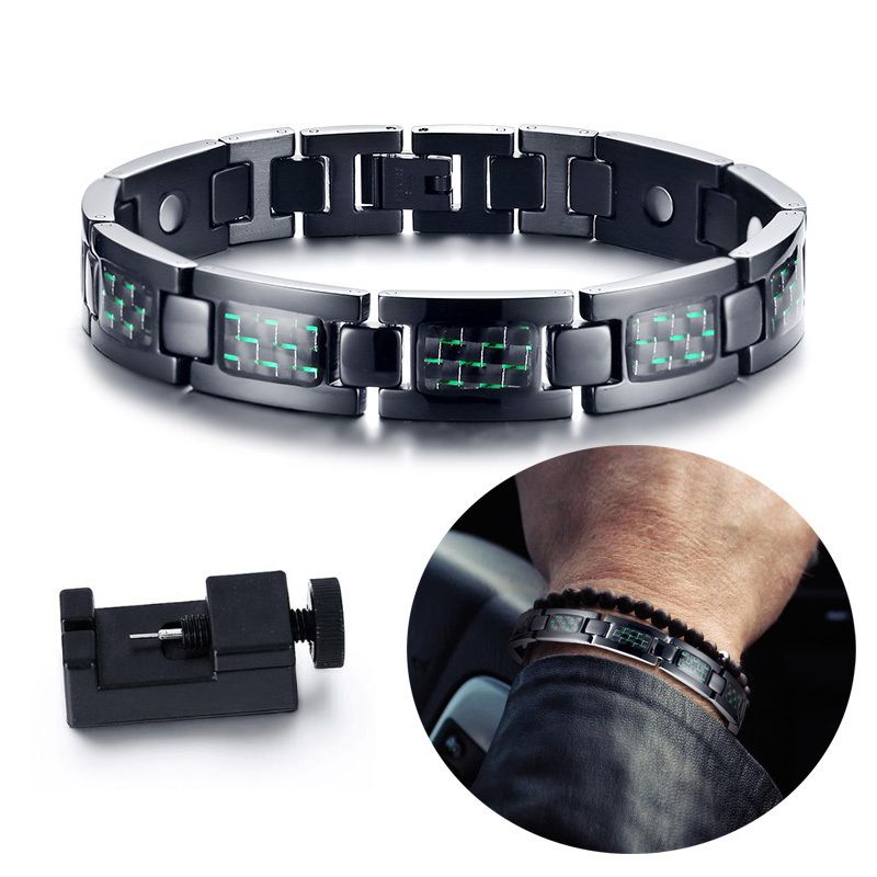 Gents Black Stainless Steel with Carbon Fiber Magnetic Bracelet for Men 4 in 1 Bio Elements Braslet Bangle Brackelts Male JewelsGents Black Stainless Steel with Carbon Fiber Magnetic Bracelet for Men 4 in 1 Bio Elements Braslet Bangle Brackelts Male Jewels