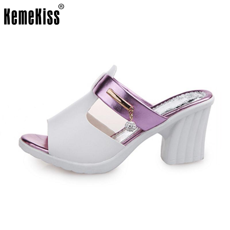 Sexy Lady High Heel Sandal Hallow Out Slipper Women Peep Toe Solid Color Thick High Heels Summer Shoes Beach Footwear Size 35-40  top quality wholesale price slipper mixed color thick high colorful spike heels fashion sexy women summer sandals free shipping