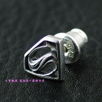 925 Pure Silver Superman Super Man Stud Earring