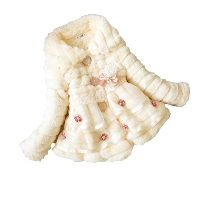 2017 Baby Girls Party Wedding Jacket Faux Fur Fleece Winter Thick Warm Coat Kids Outwear Childrens Clothing