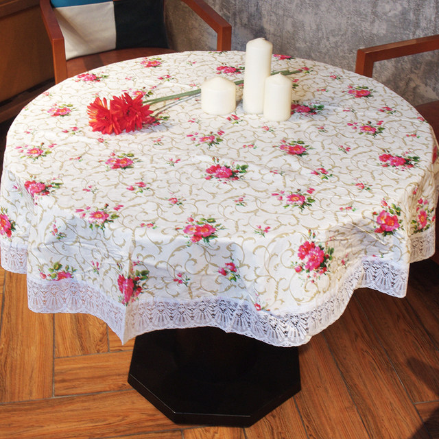Pastoral Round Tablecloth With Lace Red Floral Printed Waterproof Oilcloth  Plastic Table Cloth Home Decoration Table Cover
