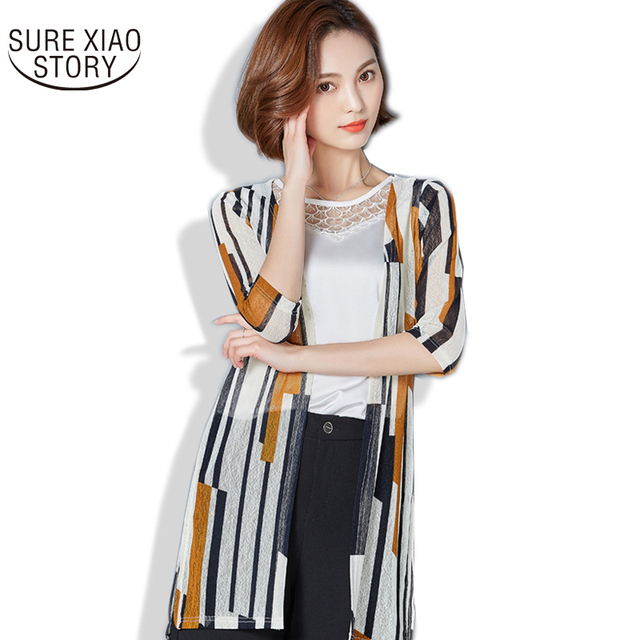 6a9c9433a8b Hot Sale 2017 New Arrival Fashion Three Quarter Sleeve Women Shirt Female  Casual Striped Plus Size All-match Clothes 596D 30
