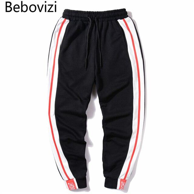 be18dee0d5371 Bebovizi marca rayas pantalones para hombre 2018 Hip Hop impreso negro Rosa  Casual Joggers Sweatpants pantalones