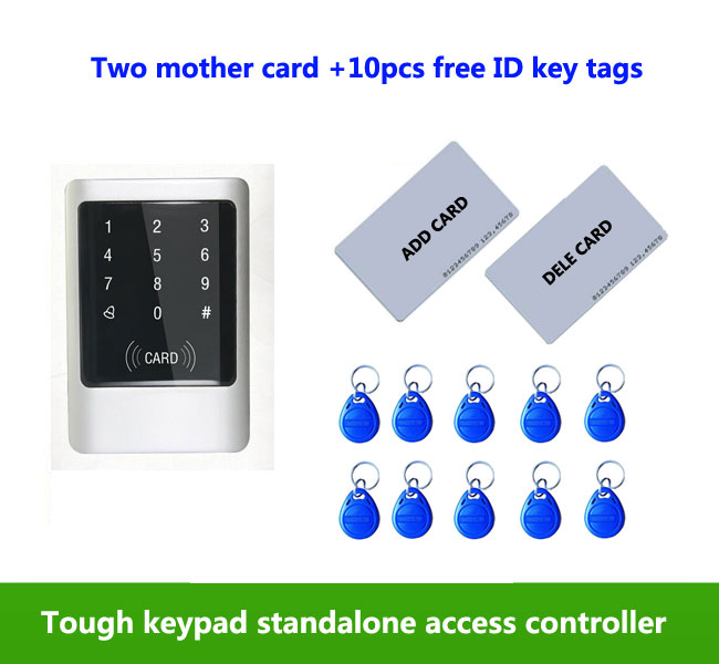 Touch screen&Metal case125KHZ RFID +password IP65 waterproof access control system/ 2pcs mother card, 10pcs ID key tags,min:5pcs proximity rfid 125khz em id card access control keypad standalone access controler 2pcs mother card 10pcs id tags min 5pcs