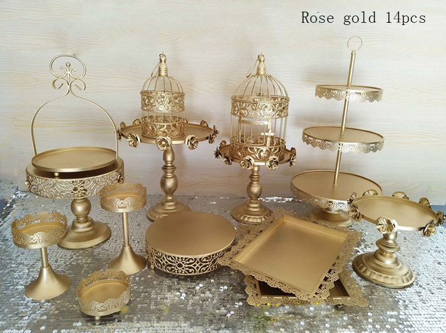 Lovely Gold Wedding Cake Stand Set 14 Pieces Cupcake Stand Barware Decorating  Cooking Cake Tools Bakeware Set