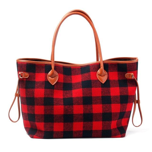 197fb207f56 55.8 19.0 30.0cm Red Buffalo Check Handbag Wholesale Christmas Plaid Tote  Gift Travel Tote Free Shipping DOM106377. 1 order