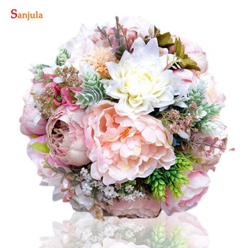 Peony Bridal Flowers Aritifical Bouquet Holder Colorful Hand Wedding Bouquets For Bridesmaids New  H003