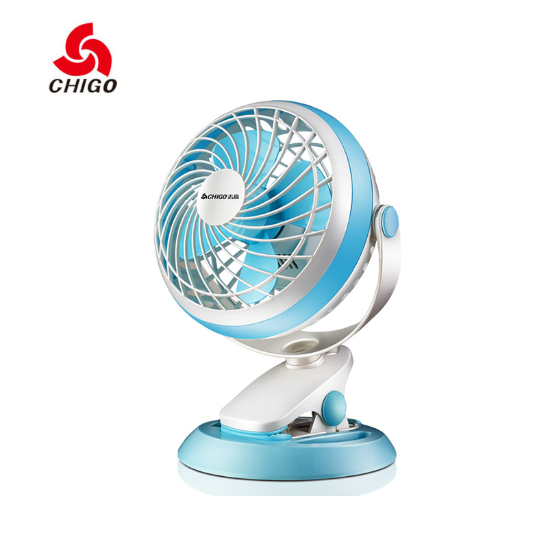 CHIGO Mini USB Electric Fans Air Cooling Fan Second Gear Negative Ion Mute 7 inch 5V 3W Home Student Desktop Cooling Using aluminum alloy mute cooling fan black orange