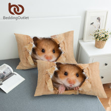 BeddingOutlet Hamster Pillowcase Papery Printing Pillow Case 3D Vivid Brown Mouse Pillow Cover Lovely Animal for Kids Fronha(China)