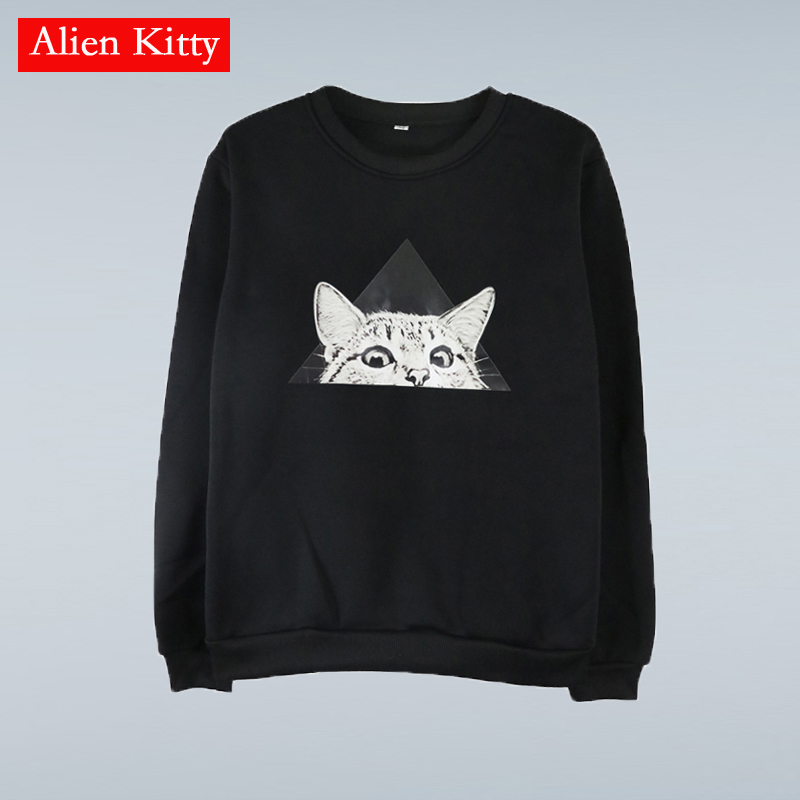 Alien Kitty 2019 Autumn Winter Hoodies And Sweatshirts Women Kawaii Cartoon Cat Loose Casual Sweatshirt Female Sudaderas Mujer