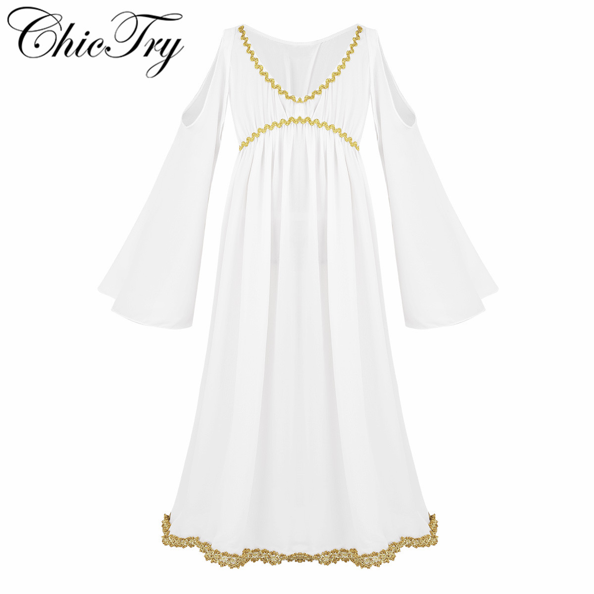 Girls Ancient Greek Girl Costume Fancy Dress Up Party Toga Outfit Kids age 8-10