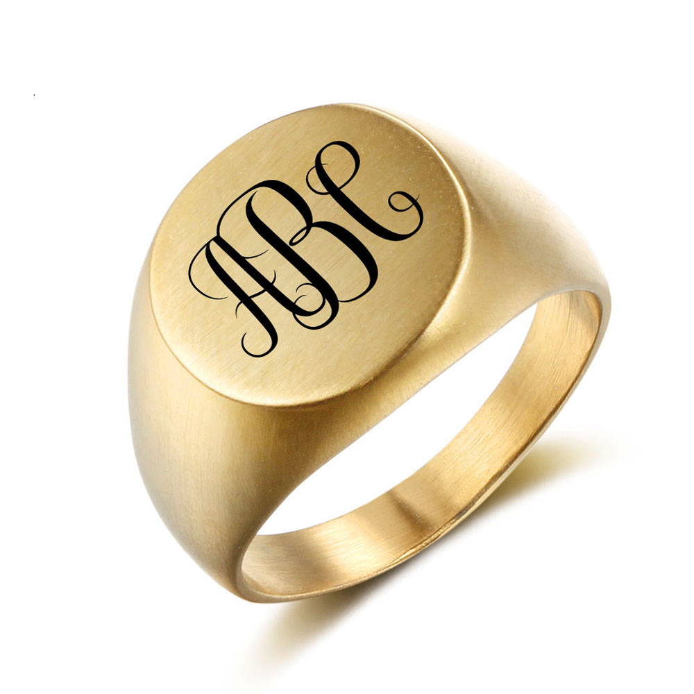 Retro Style Steel Ring For Men Personalized Name Stainless Steel Rings  Custom Name Rings Gold Color Engrave Logo Men Jewelry