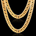 punk African Jewelry 76cm Long 10mm Width Wholesale Gold Plated Stainless Steel Box Chain Necklace For Men Jewelry