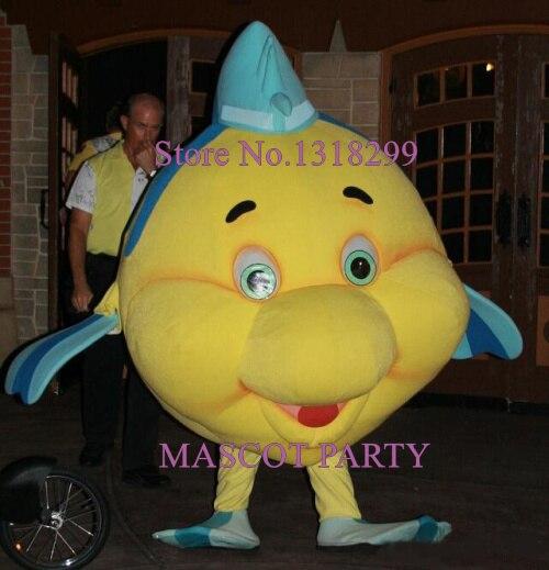 Flet de mascotte Mascotte Costume de poisson de bande dessinée adulte caractère flet thème mascotte de déguisement pour le carnaval