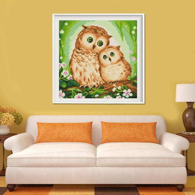 Two Owls 5D Diamond Painting Cross Stitch Rhinestones Round Diamond ...