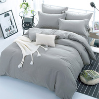 Grey Color 100% Cotton Duvet Cover, Flat Bed Sheet, Fitted Bed Sheet, Pillowcases for Kids Adults Bedroom Use XF642 4