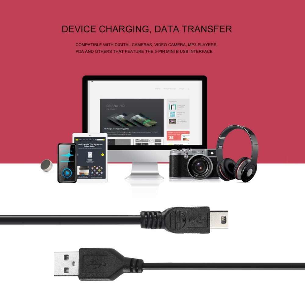 Cable de carga de alta velocidad 80 cm USB 2,0 macho A Mini B 5 pines para cámaras digitales cable cargador de datos USB intercambiable en caliente negro