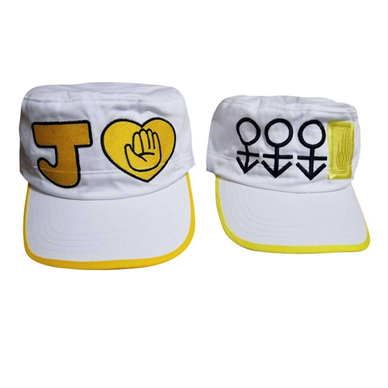 Aggressive Takerlama Jojo's Bizarre Adventure Kujo Jotaro Cosplay Cap Unisex Fashion Baseball Embroidery Hat Otaku Adjustable White Hat