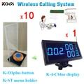 Беспроводной счетчик зуммер K-4-Cblue дисплей + K-O1plus настольные звонки + K-ST держатель меню
