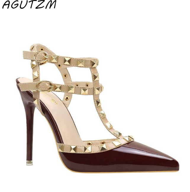 AGUTZM Studded Stiletto Shoes Sandals Rivet Women Pumps Pointed-Toe High-Heels Sexy Large-Size