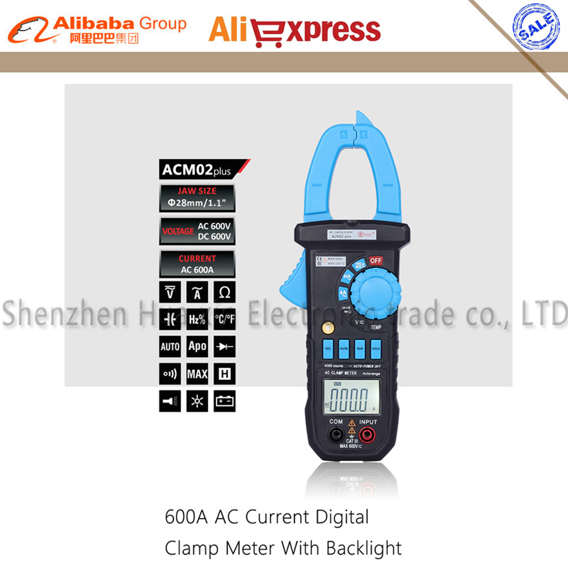Bside ACM02 Plus 600A AC Current Digital Clamp Meter with AC/DC Voltage Resistance Capacitance Frequency Temperature Duty Cycle bside acm02 plus 600a ac current digital clamp meter with ac dc voltage resistance capacitance frequency temperature duty cycle