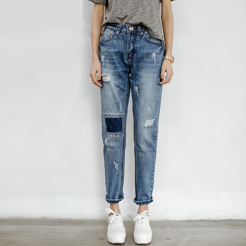 26-32 Boyfriend Jeans For Women Distressed Jeans Ripped Vintage Washed Denim Casual Pants with Hole Patchwork Harem 0929-69D boyfriend jeans women ankle length washed denim summer vintage hole ripped letter embroidery harem pants female casual streetwea