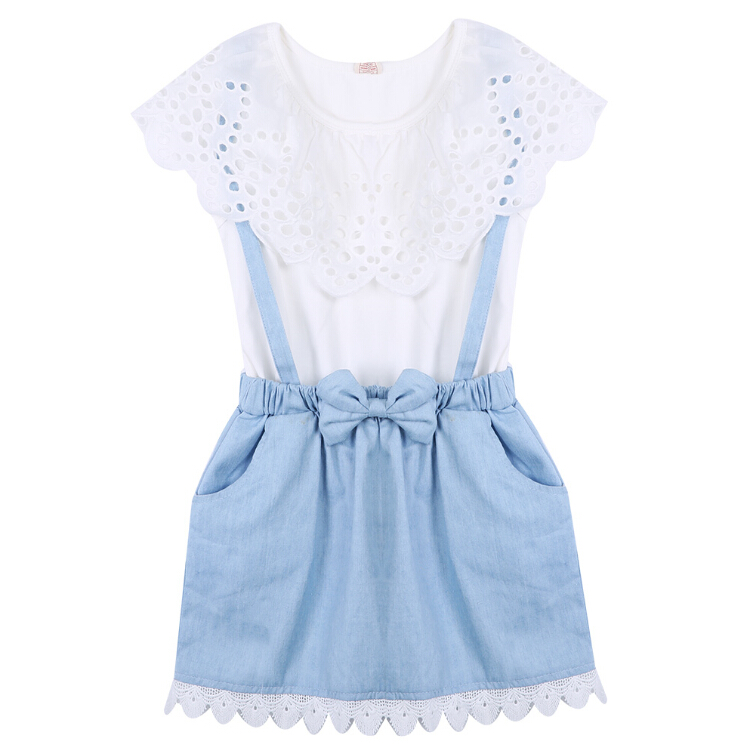 New Fashion Girls Summer Clothes Dresses Girls cowboy Short sleeve Bow cotton baby kids girls Ball Cute Enfant Kids dress 2-7Y 2016 summer europe fashionable girls cute girls short bow wave shorts cotton suit birthday gift for girls