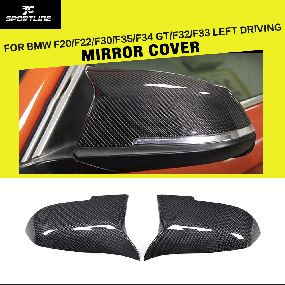 Carbon Fiber Car Side Rearview Mirror Covers Caps for BMW F20 F22 F30 F35 F34 GT F32 X1 LHD 2014-2017 Replacement Style replacement car styling carbon fiber abs rear side door mirror cover for bmw 5 series f10 gt f07 lci 2014 523i 528i 535i