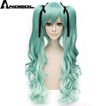 Anogol Vocaloid Miku Natural Long Body Wave Green Double Clip Ponytails Costume Synthetic Cosplay Wig For Halloween+Black Ribbon new 2019 vocaloid hatsune miku cosplay costume snow miku cosplay fancy dress full set carnival halloween costumes for women s xl