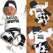 Newborn Baby Boy Girl Hello World Tops Bodysuits + Long Pants Casual Hat 3PCS Plaid Outfits Set Clothes Baby
