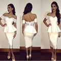 White Sexy Sheath Puplum Knee Length Cocktail Dresses 2016 Cheap Party Dress Short Cap Sleeves  Sweetheart Vestidos Curtos