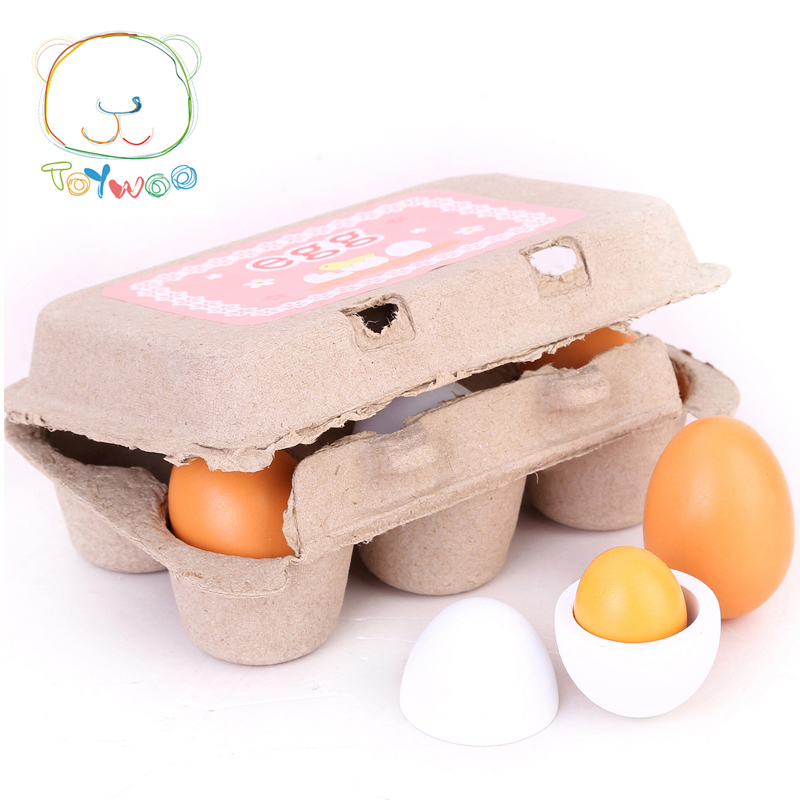 Kid Pretend Play Toy Set Eggs Woods Yolk Kitchen Food Children Xmas Gift KidsToys Wooden Toys Preschool Educational Toy Toy