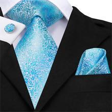 Hi-Tie мужской галстук набор шелковый галстук высокое качество носовые платки Запонки Набор Модный свадебный кармашек квадратный синий цветочный галстук