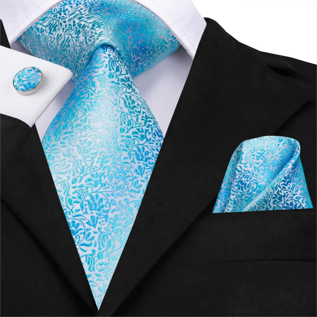 Hi-Tie New Men Tie Set Silk Tie High Quality Handkerchiefs Cufflinks Set Fashion Wedding Pocket Square Blue Floral TIe