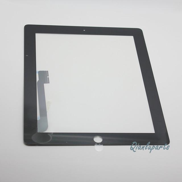 Probado reemplazo de pantalla táctil digitalizador para ipad 3 tercera ipad 4 touchpad delantera sensor panel de vidrio adhesivo sin botón de inicio